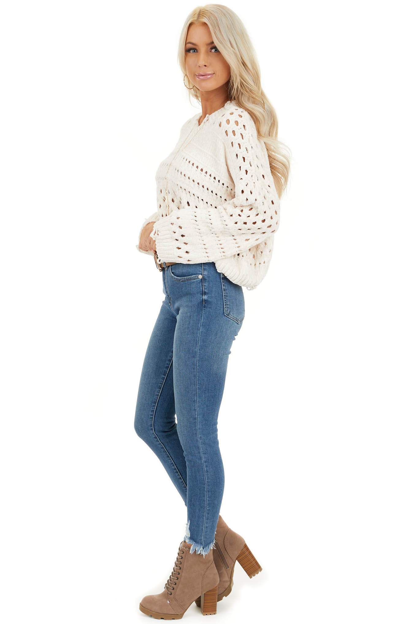 Ivory Super Soft Long Sleeve Chenille Cropped Sweater side full body