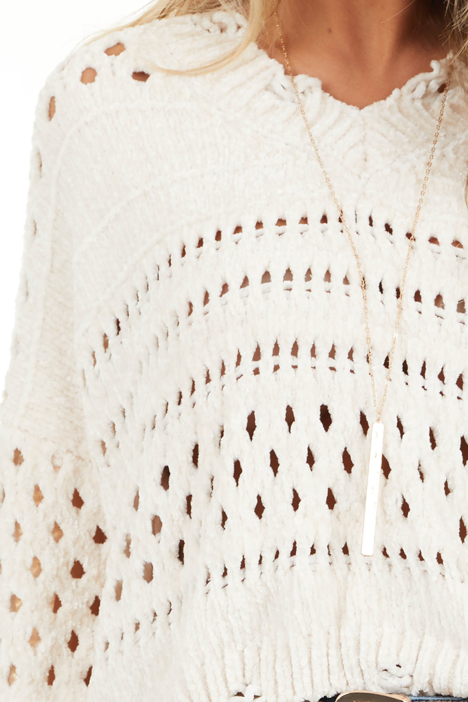 Ivory Super Soft Long Sleeve Chenille Cropped Sweater detail
