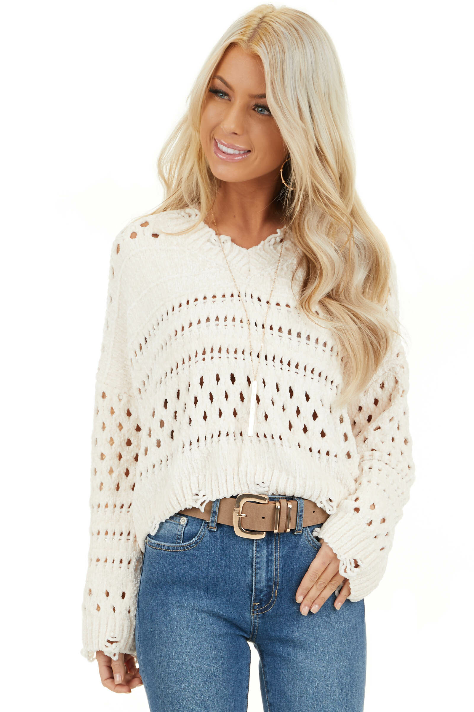 Ivory Super Soft Long Sleeve Chenille Cropped Sweater front close up