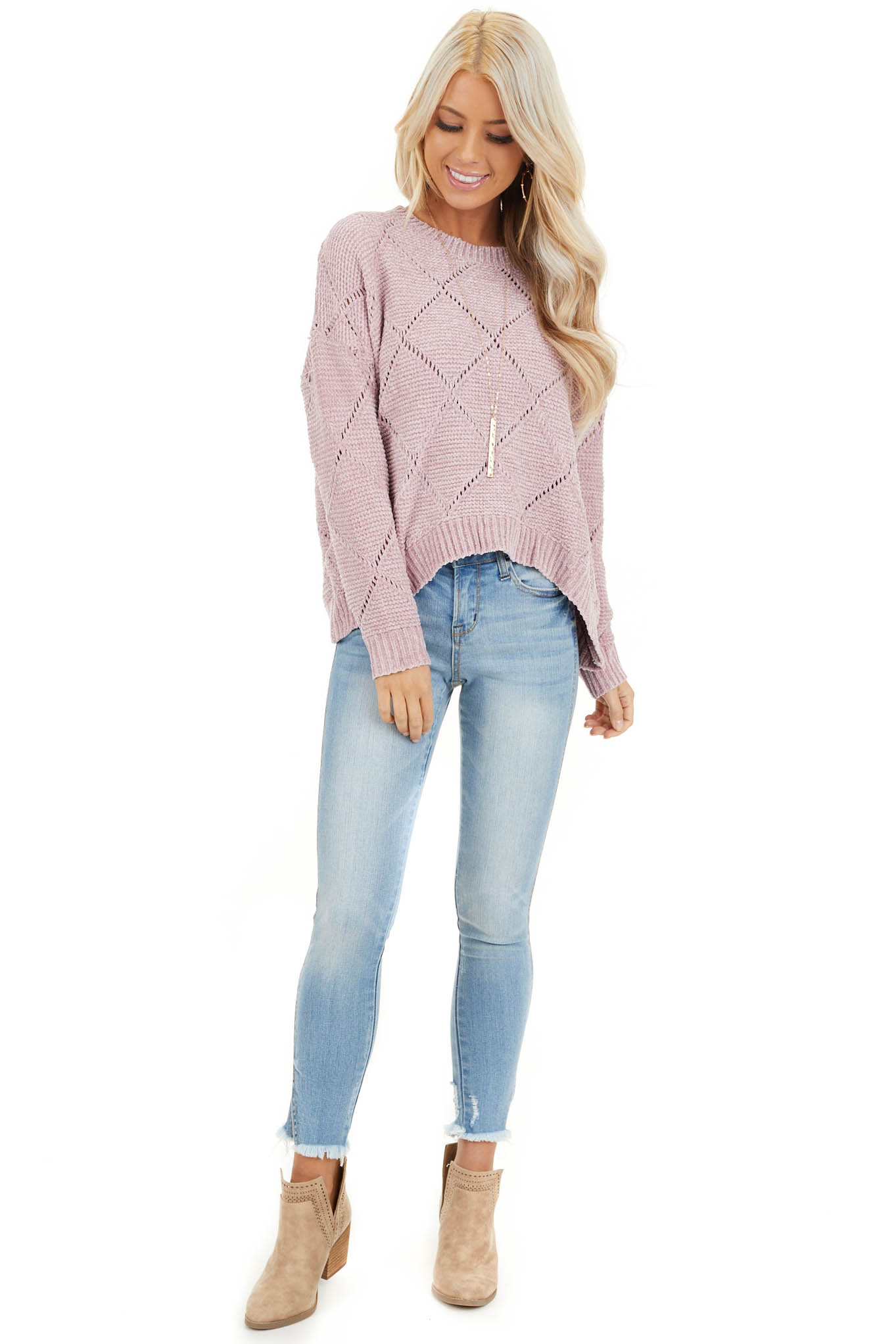 Rose Pink Super Soft Long Sleeve Chenille Sweater front full body