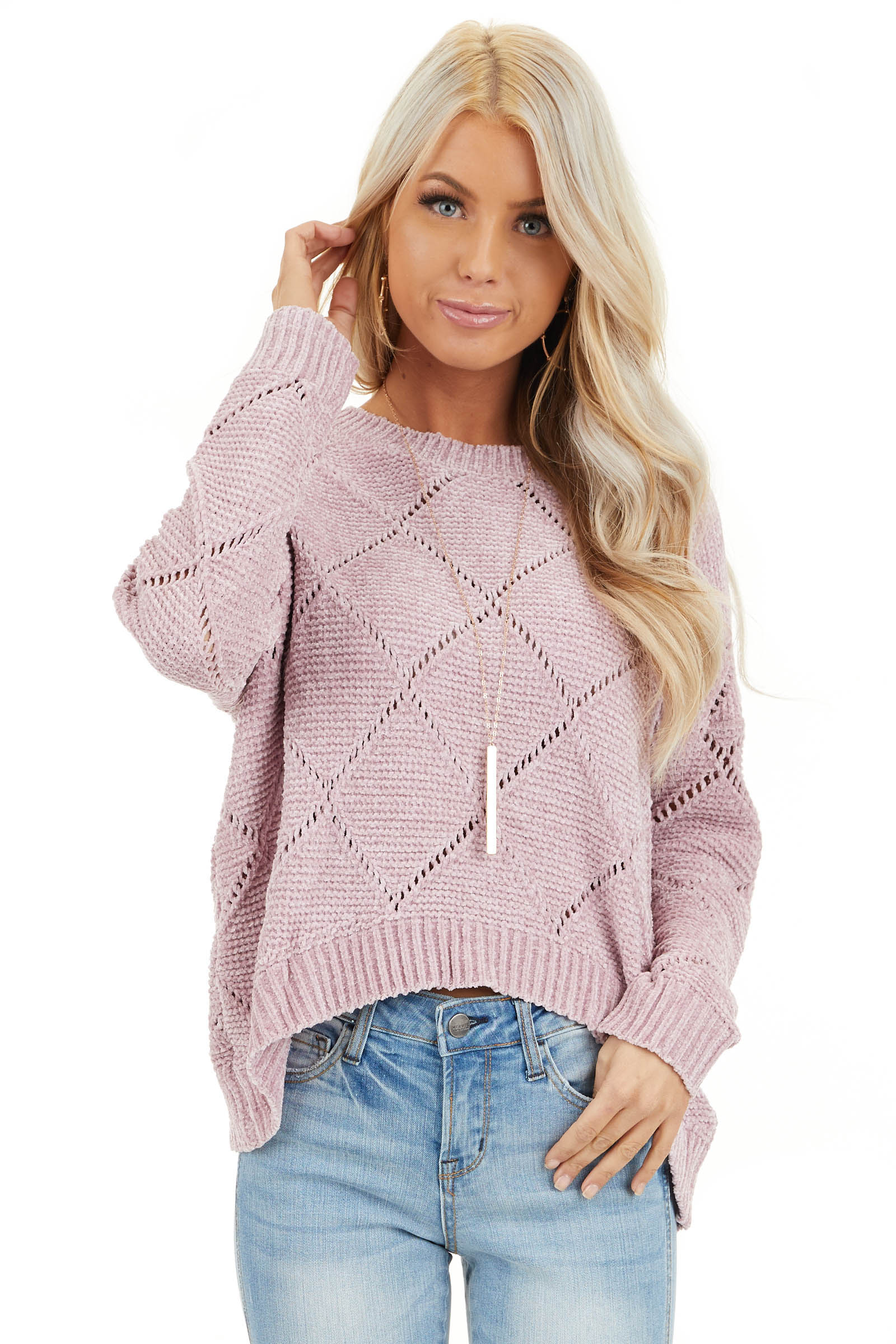 Rose Pink Super Soft Long Sleeve Chenille Sweater front close up