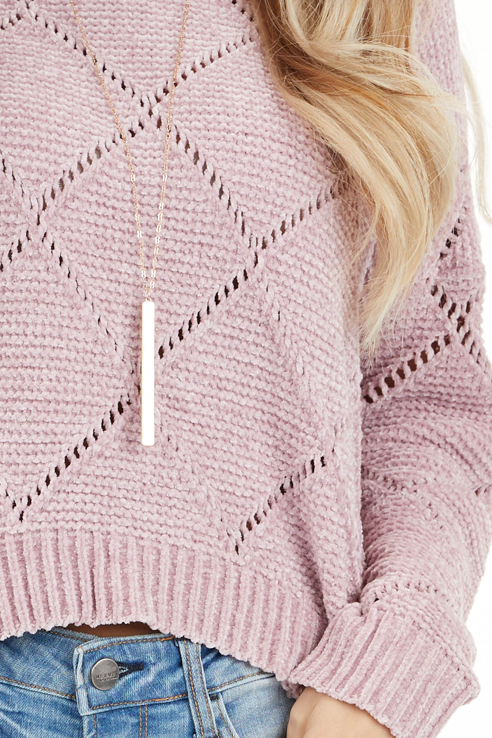 Rose Pink Super Soft Long Sleeve Chenille Sweater detail