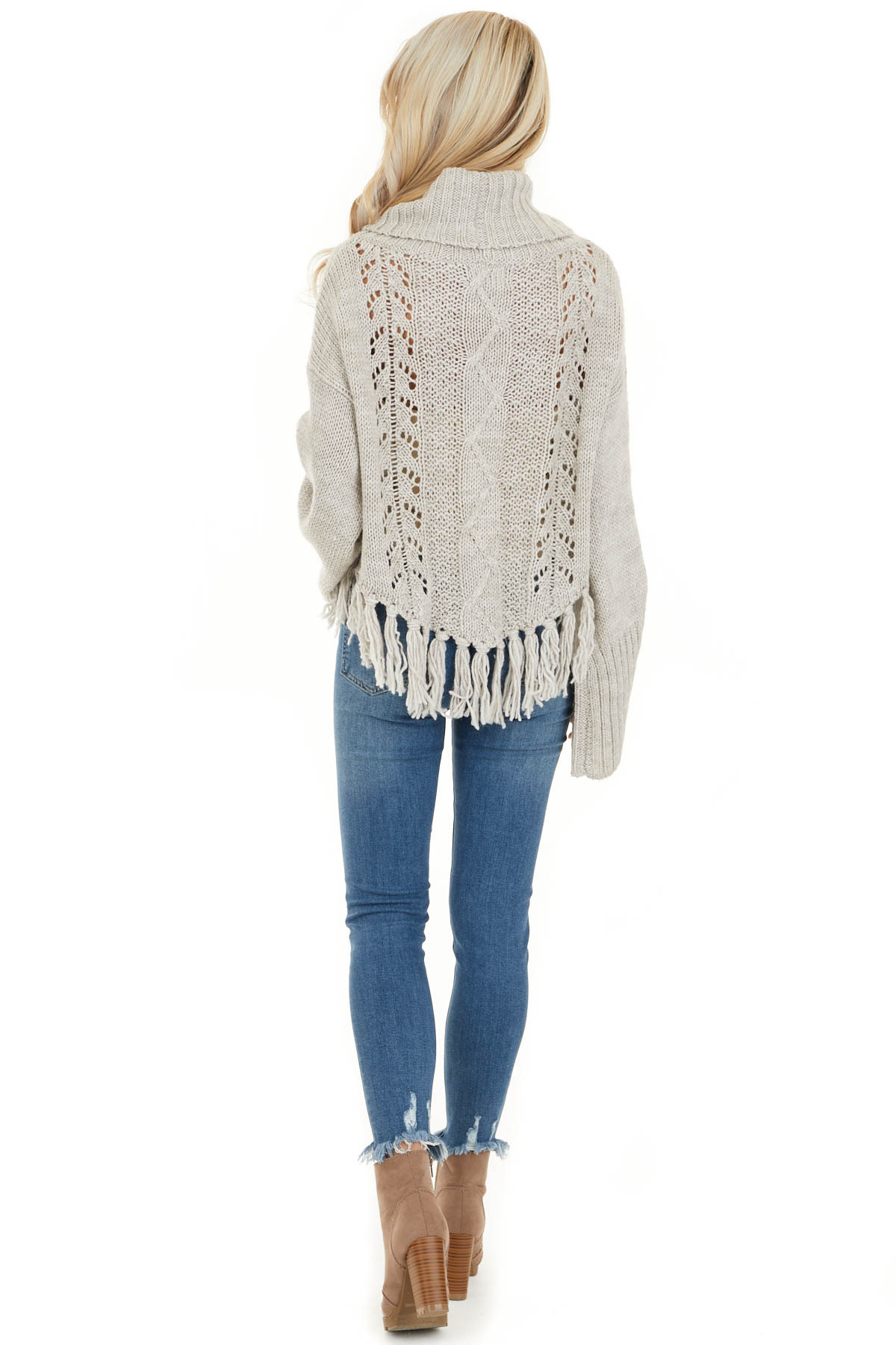 Pale Grey Long Sleeve Cable Knit Sweater with Tassel Details back full body