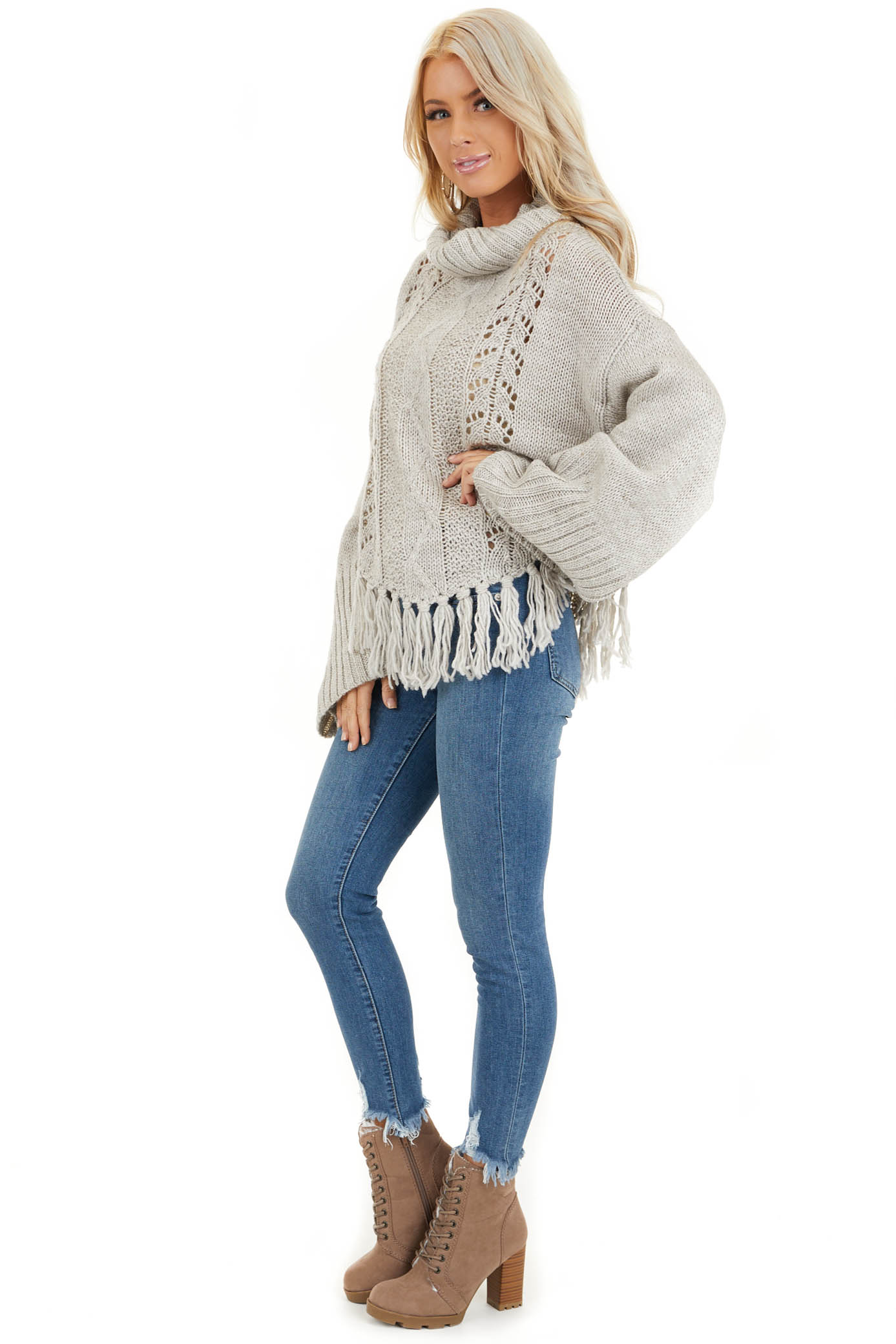 Pale Grey Long Sleeve Cable Knit Sweater with Tassel Details side full body