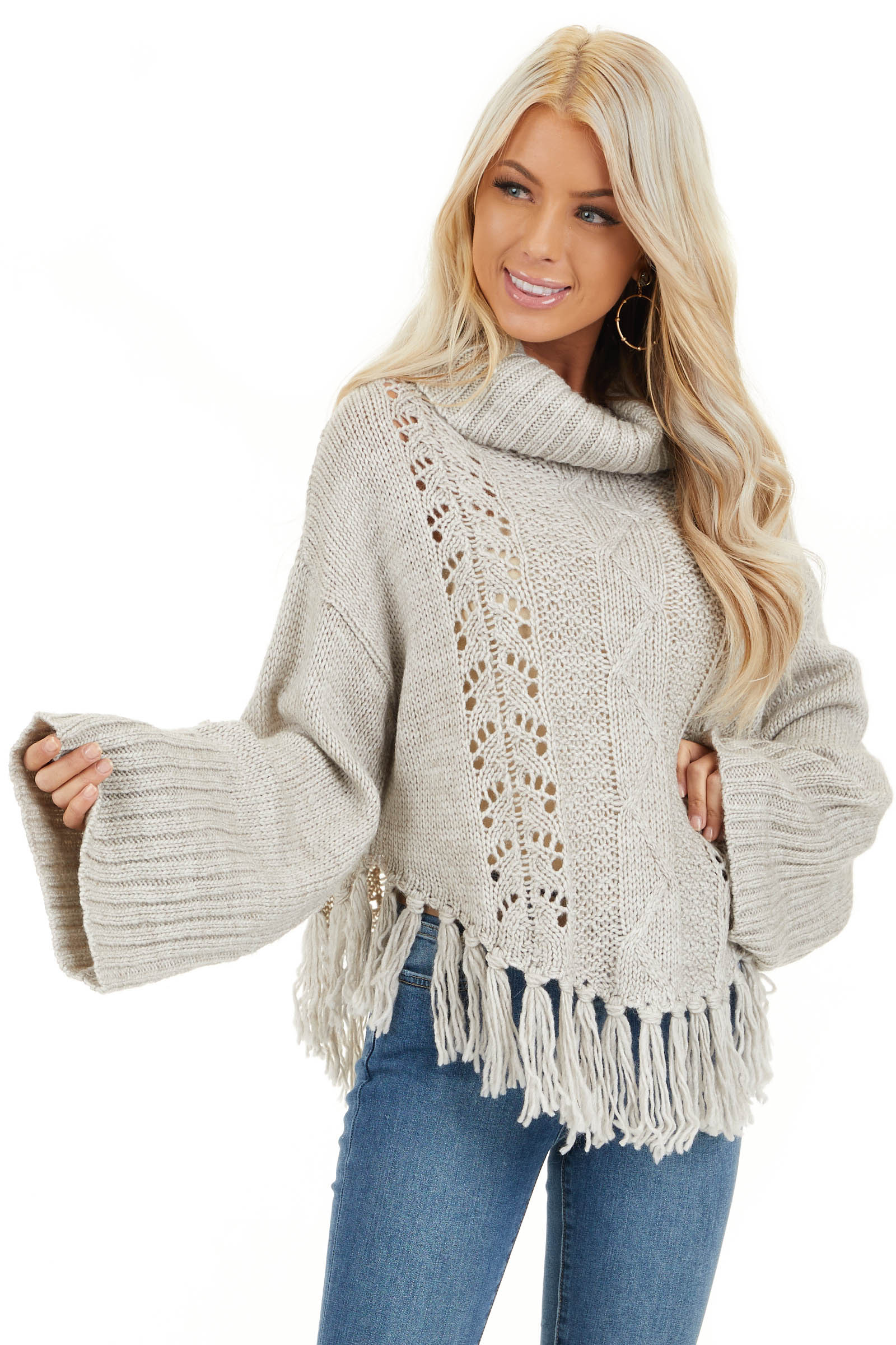 Pale Grey Long Sleeve Cable Knit Sweater with Tassel Details front close up