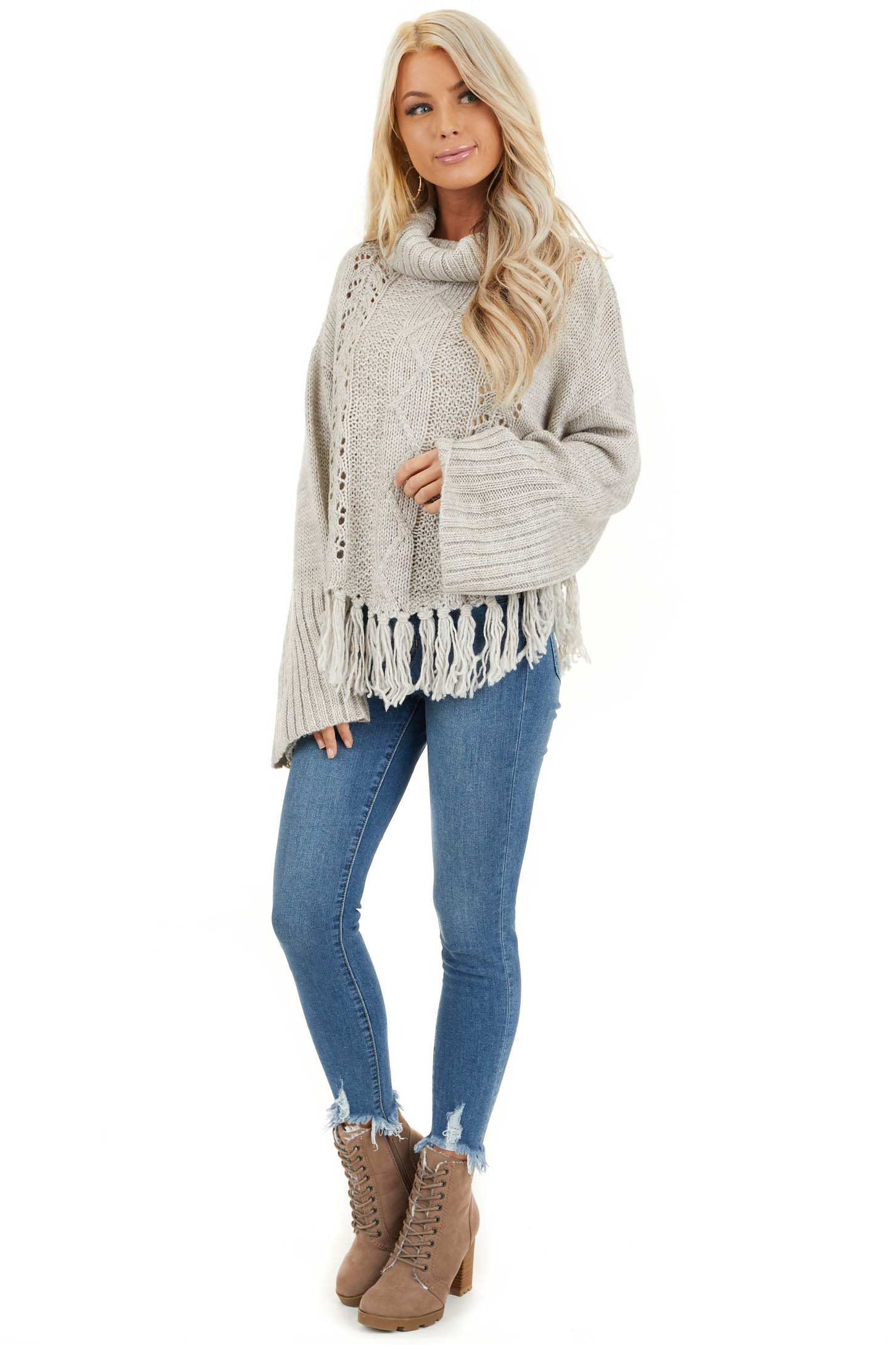 Pale Grey Long Sleeve Cable Knit Sweater with Tassel Details front full body