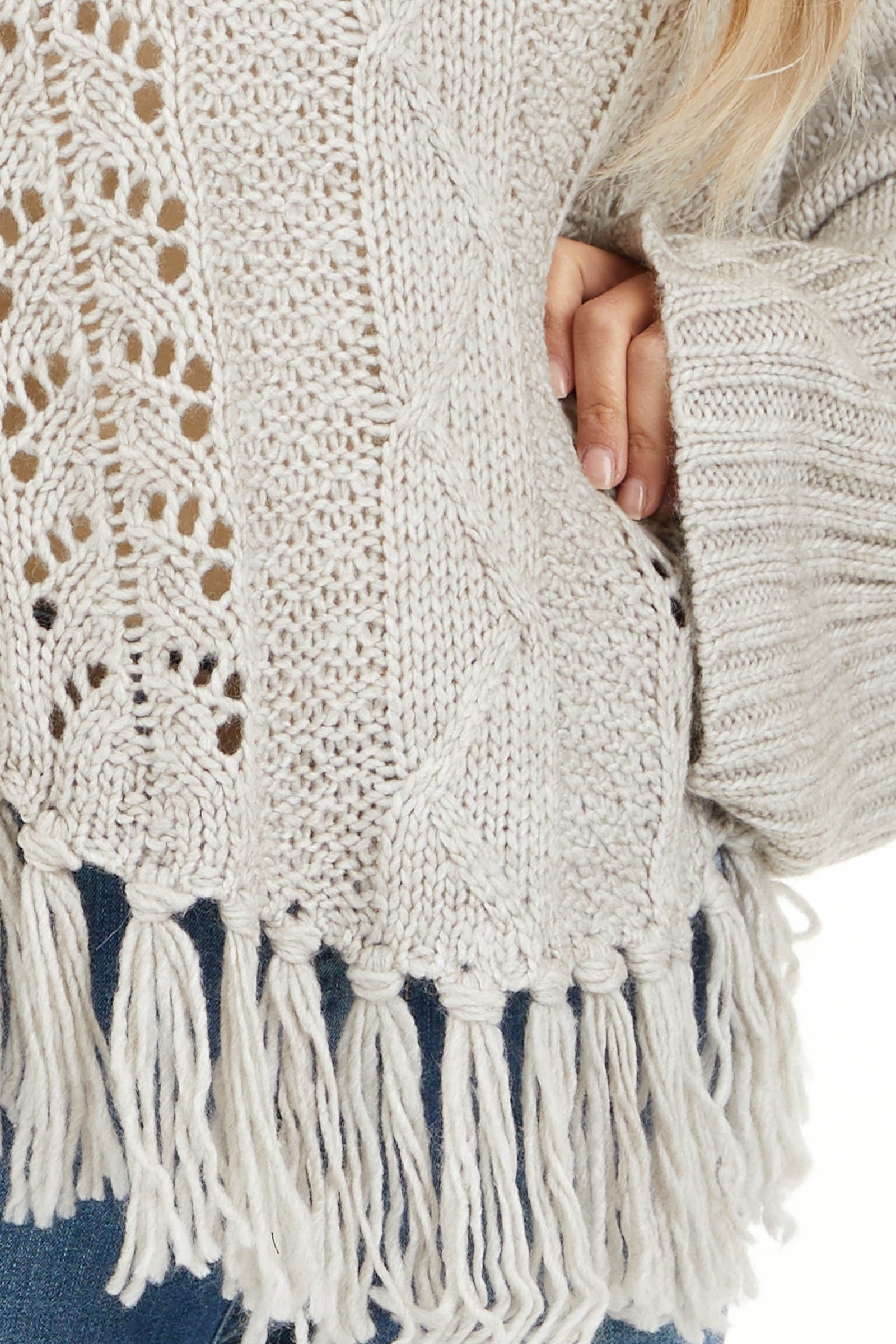 Pale Grey Long Sleeve Cable Knit Sweater with Tassel Details detail