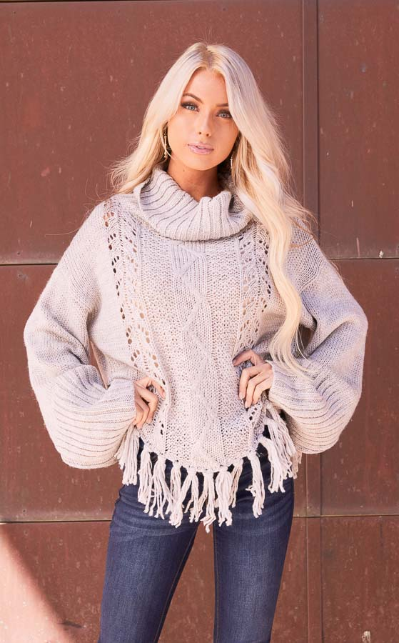 Pale Grey Long Sleeve Cable Knit Sweater with Tassel Details