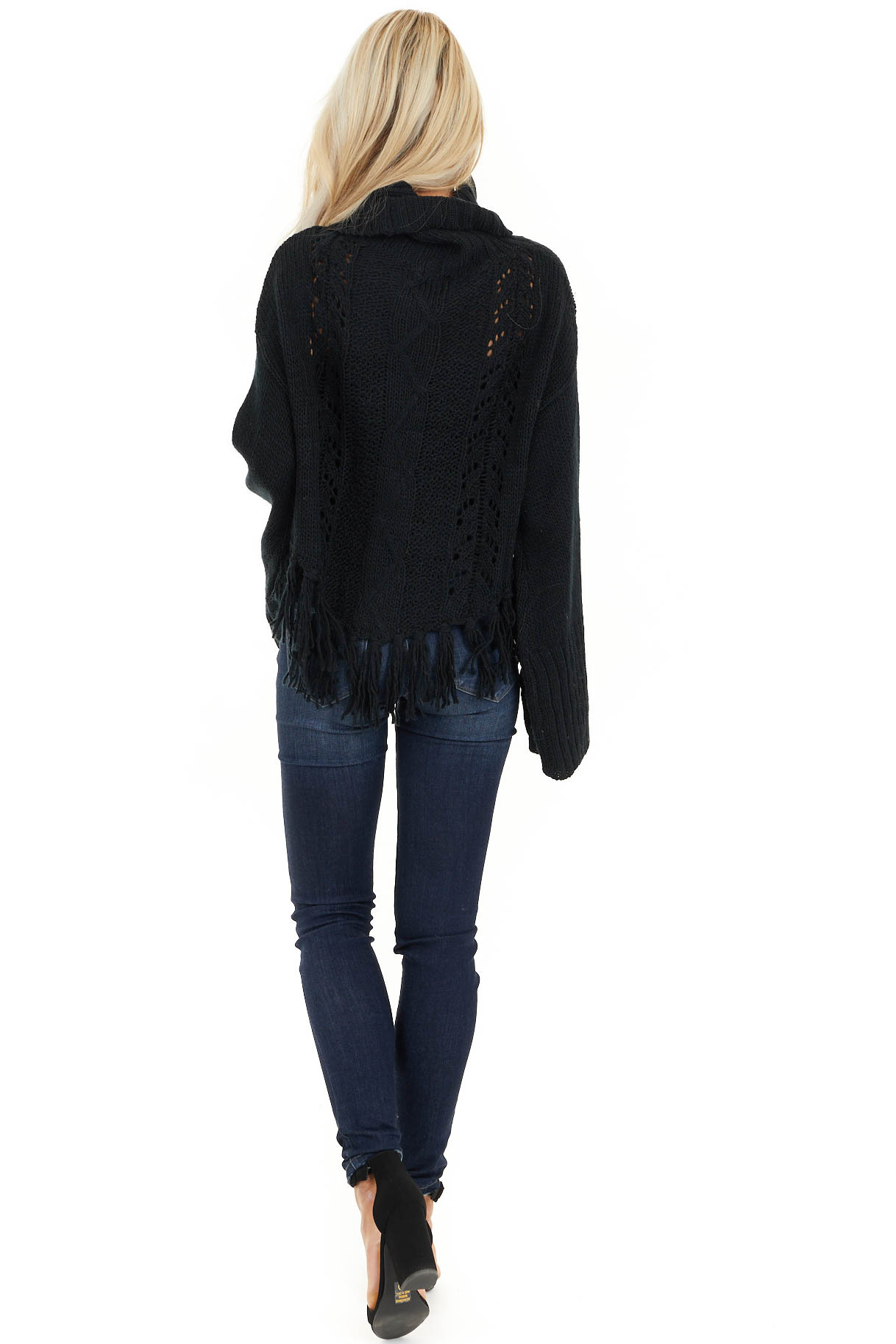 Black Long Sleeve Cable Knit Sweater with Tassel Details back full body