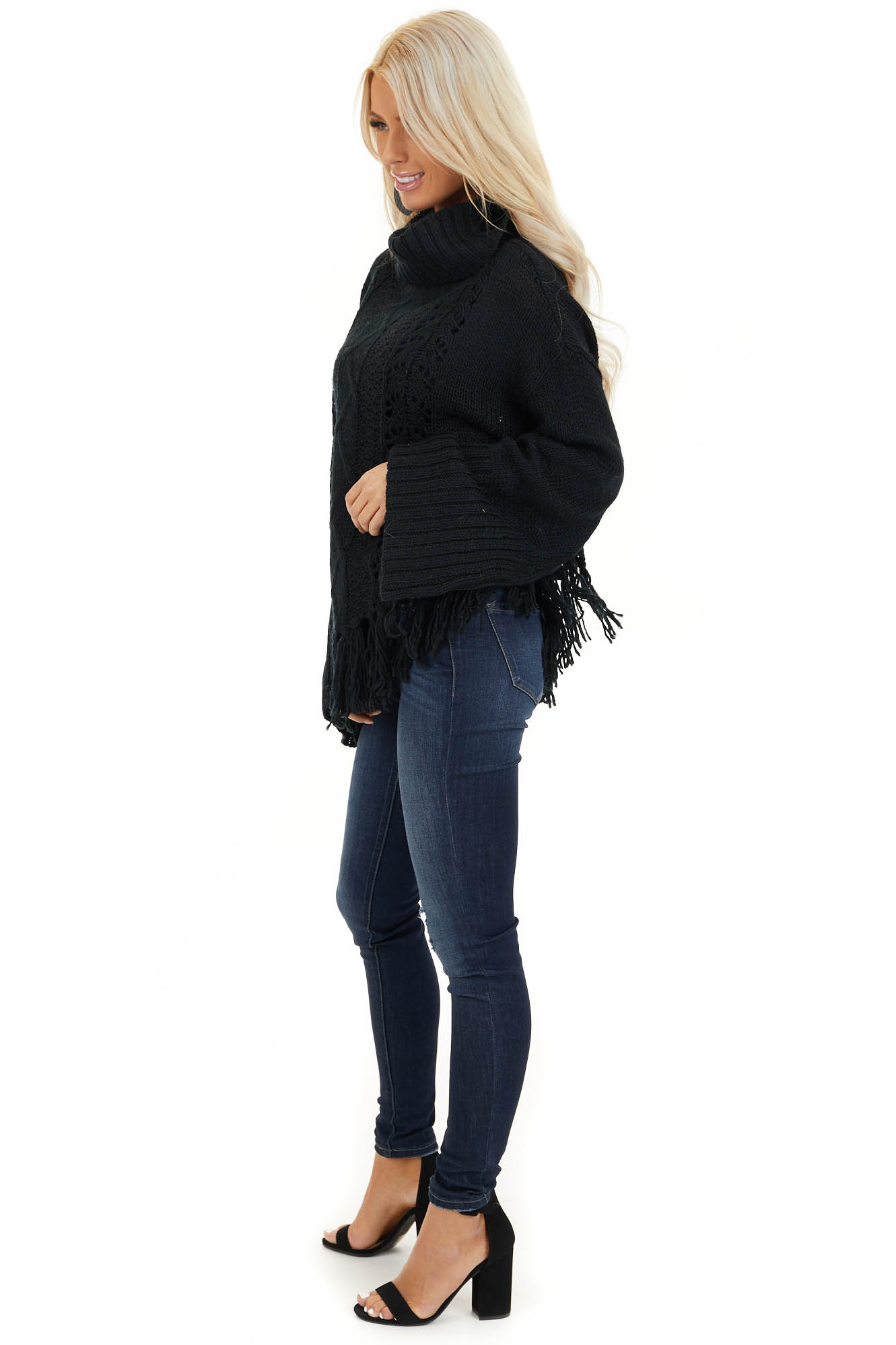 Black Long Sleeve Cable Knit Sweater with Tassel Details side full body