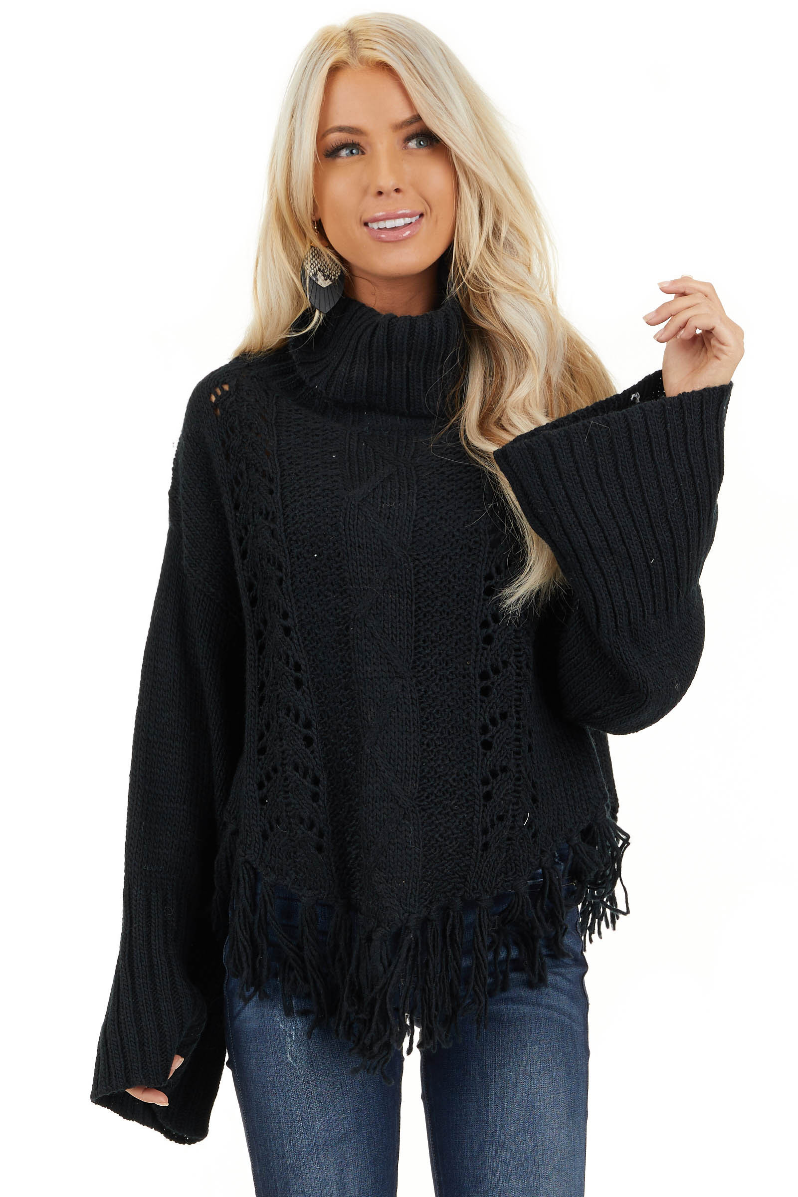 Black Long Sleeve Cable Knit Sweater with Tassel Details front close up