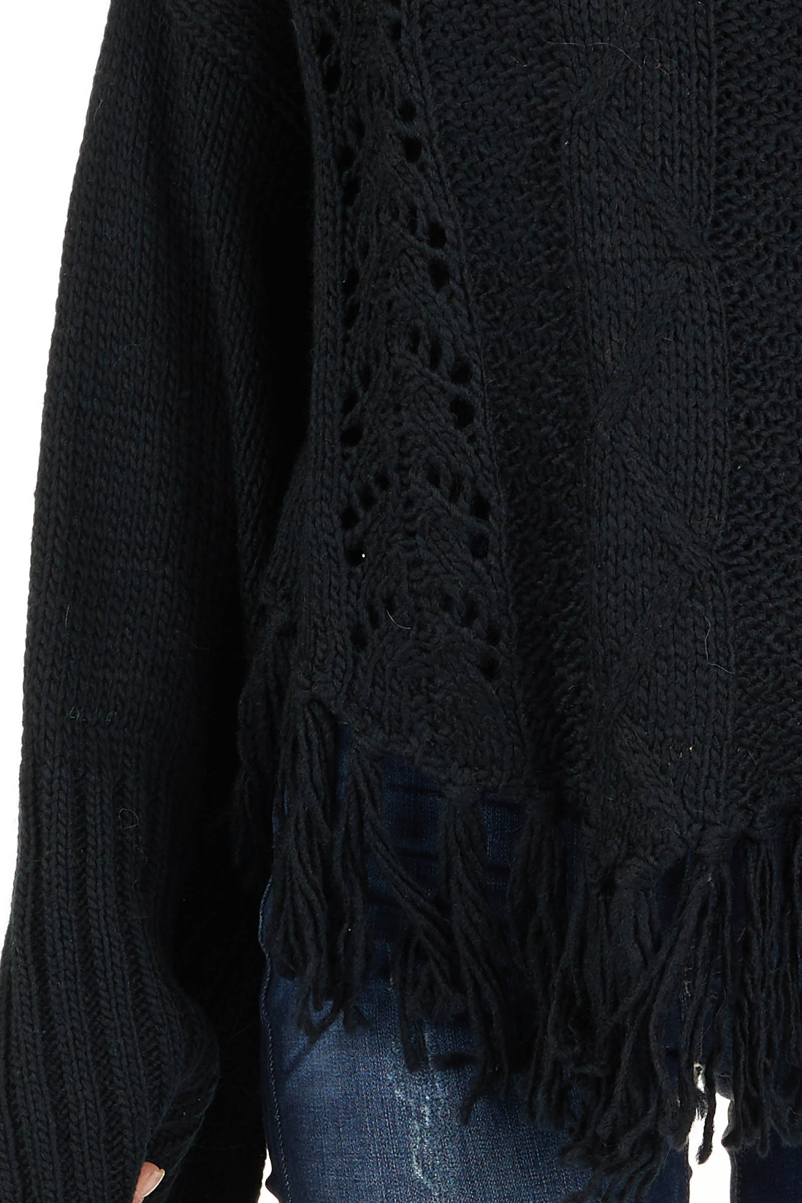 Black Long Sleeve Cable Knit Sweater with Tassel Details detail