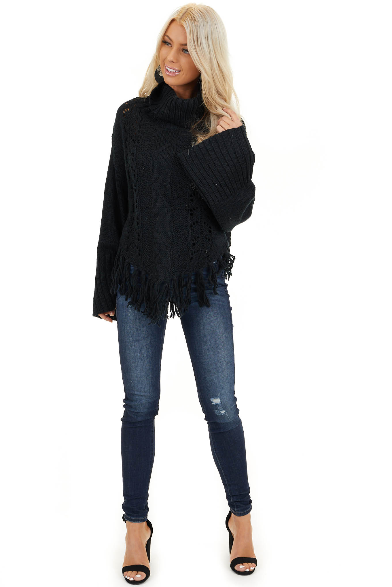 Black Long Sleeve Cable Knit Sweater with Tassel Details front full body