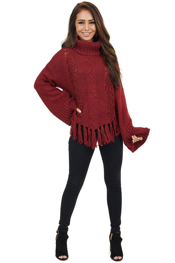 Wine Long Sleeve Cable Knit Sweater with Tassel Details