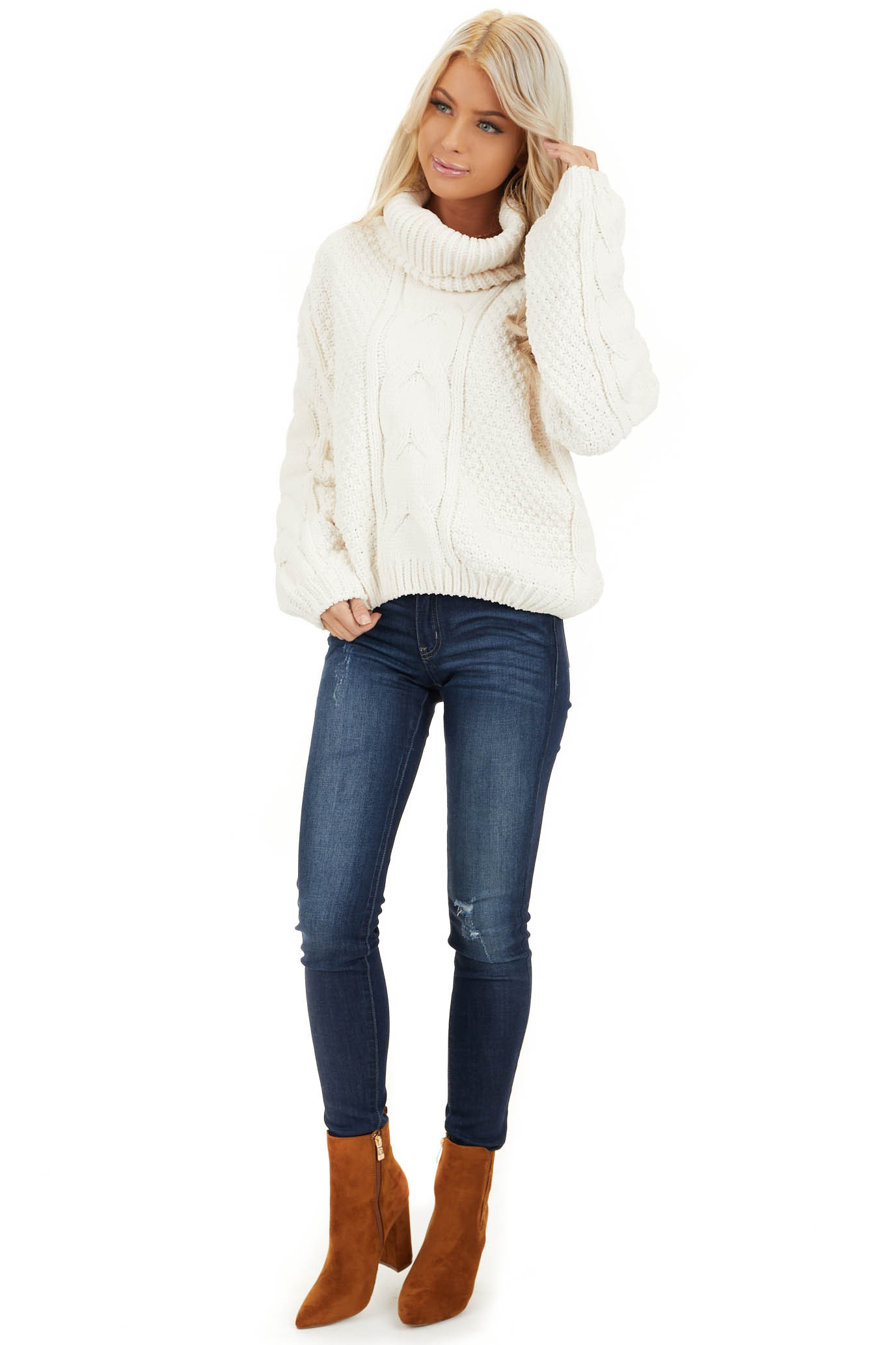 Ivory Super Chunky Cable Knit Chenille Turtleneck Sweater front full body