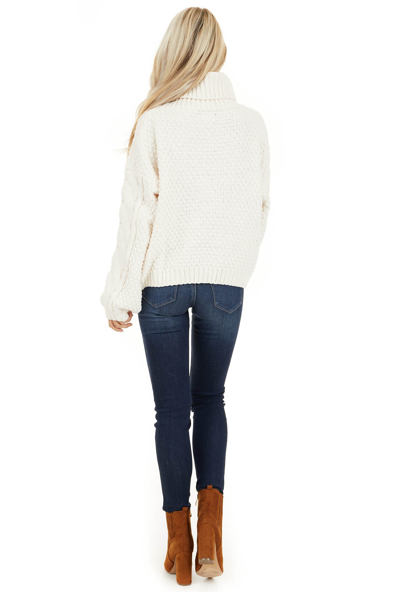 Ivory Super Chunky Cable Knit Chenille Turtleneck Sweater back full body