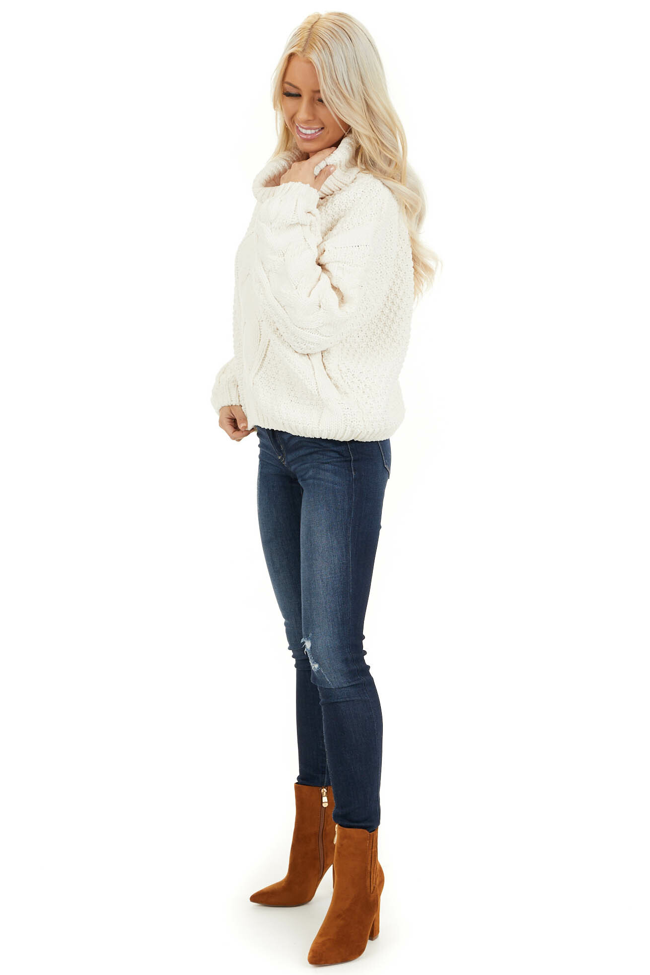 Ivory Super Chunky Cable Knit Chenille Turtleneck Sweater side full body