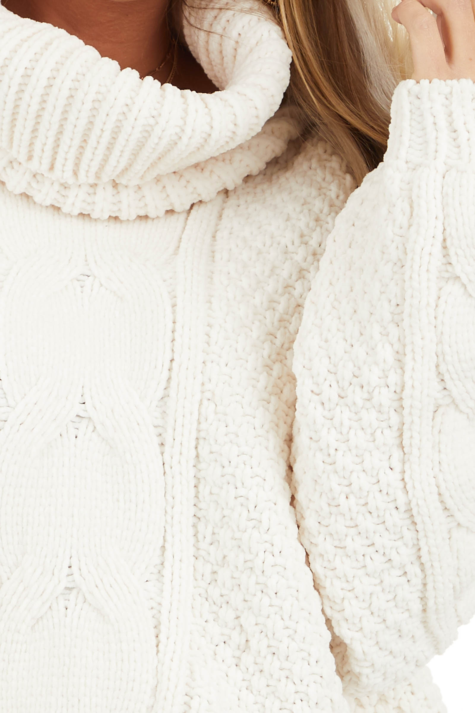 Ivory Super Chunky Cable Knit Chenille Turtleneck Sweater detail