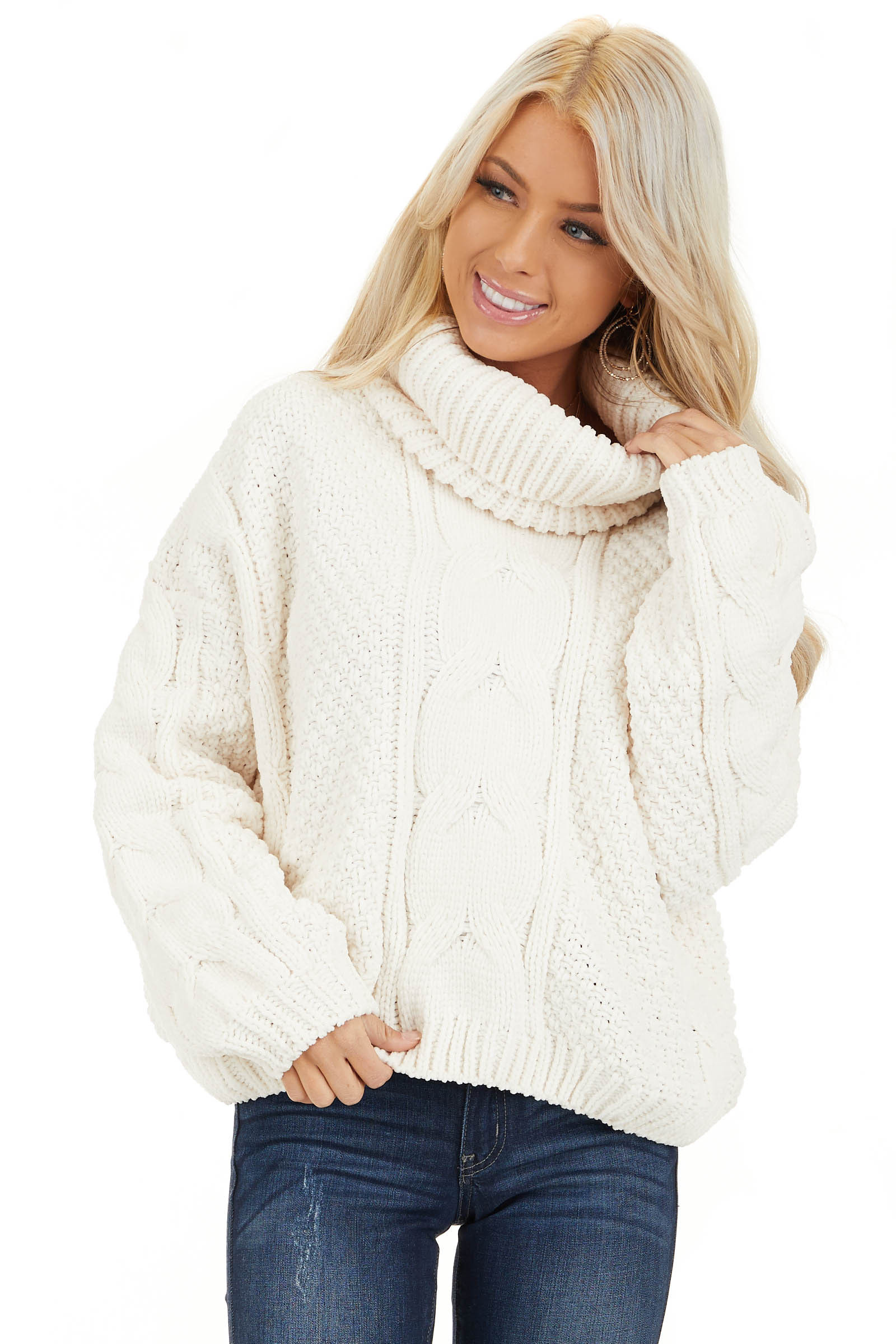 Ivory Super Chunky Cable Knit Chenille Turtleneck Sweater front close up