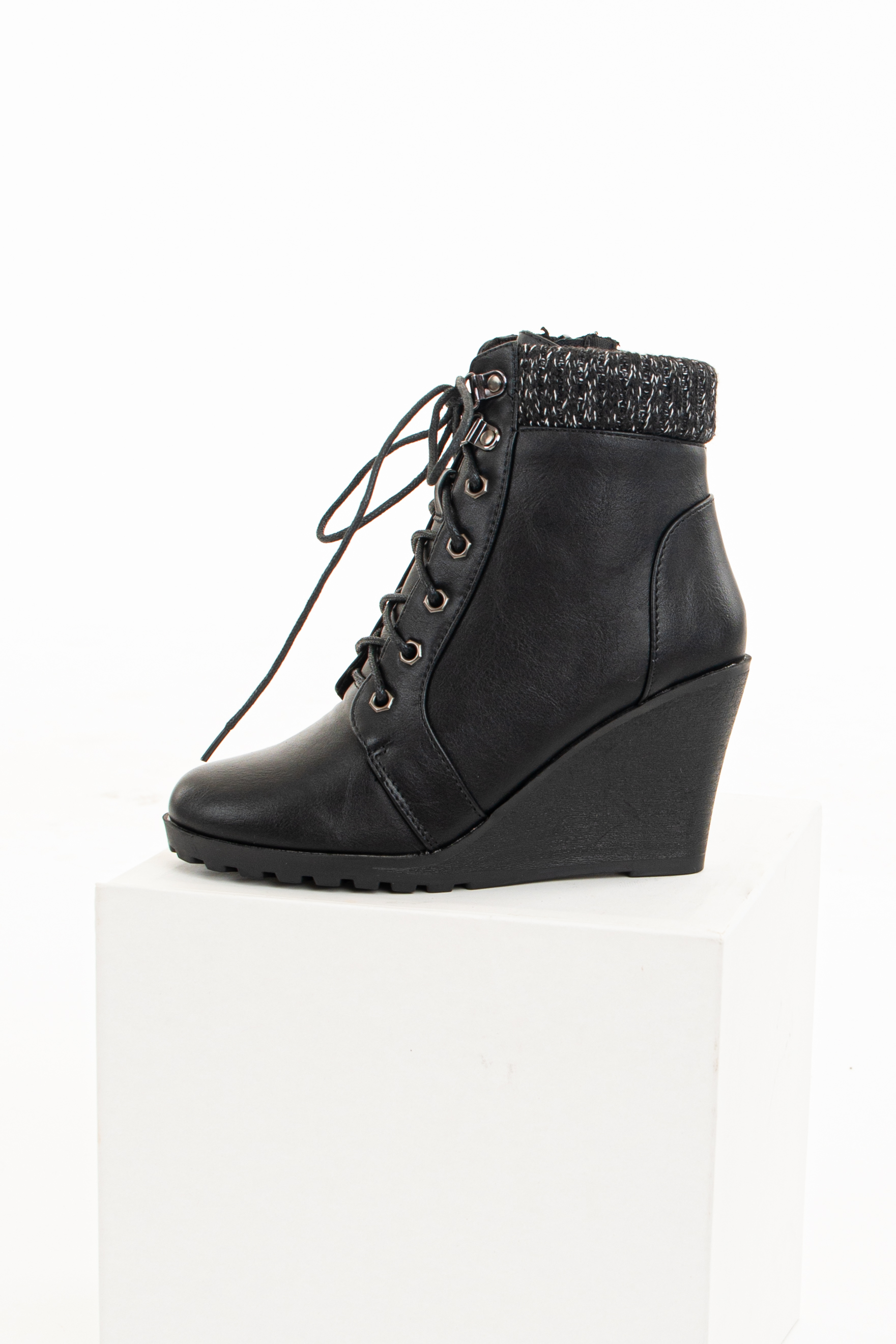 Black Lace Up Wedge Bootie with Sweater Detail on Ankle