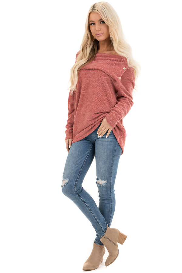 Dark Rose Long Sleeve Top with Overlay and Button Details front full body