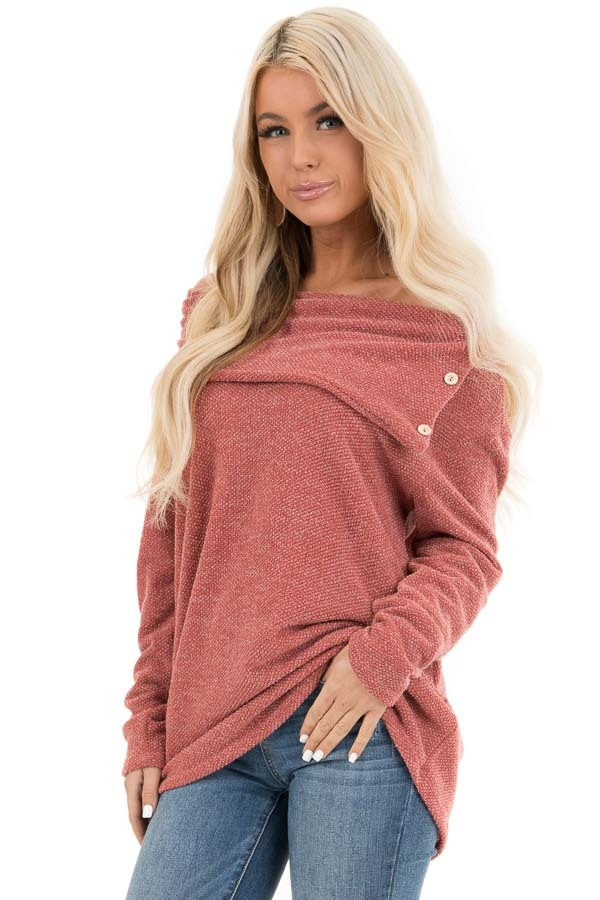 Dark Rose Long Sleeve Top with Overlay and Button Details front close up
