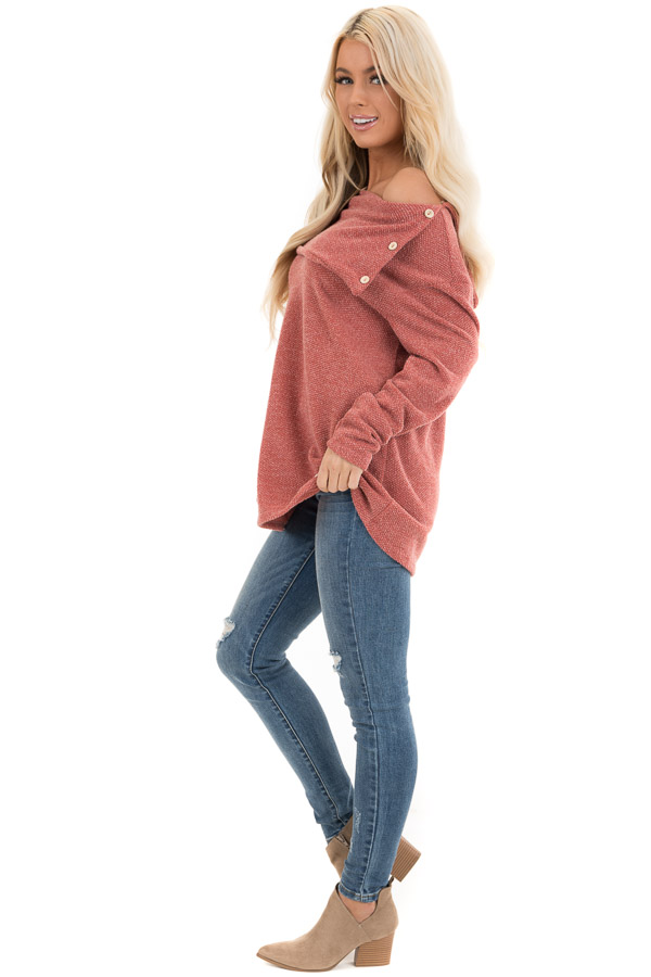 Dark Rose Long Sleeve Top with Overlay and Button Details side full body