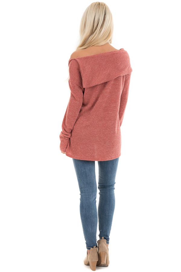Dark Rose Long Sleeve Top with Overlay and Button Details back full body