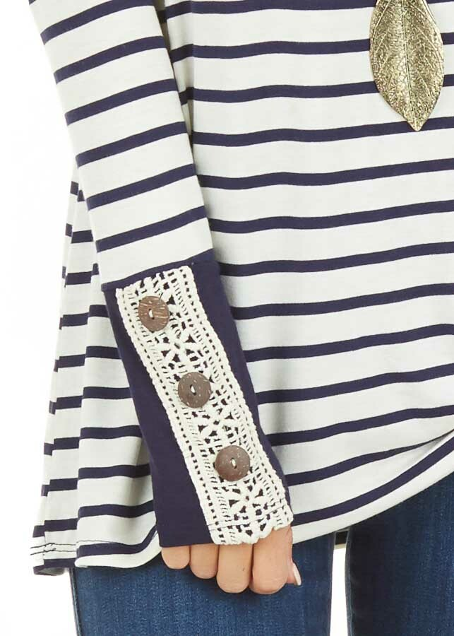Navy and Ivory Striped Top with Crochet and Button Details detail