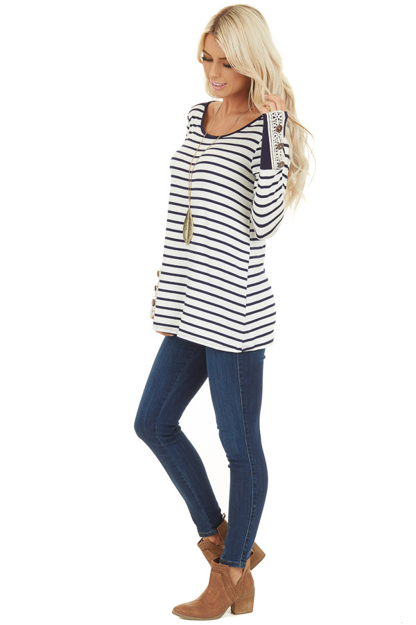 Navy and Ivory Striped Top with Crochet and Button Details side full body
