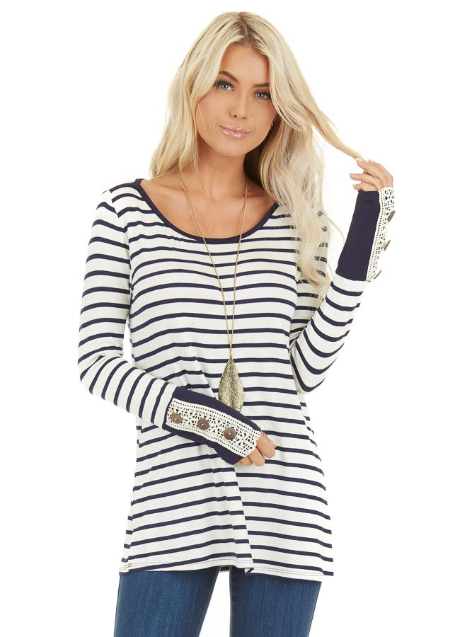 Navy and Ivory Striped Top with Crochet and Button Details front close up