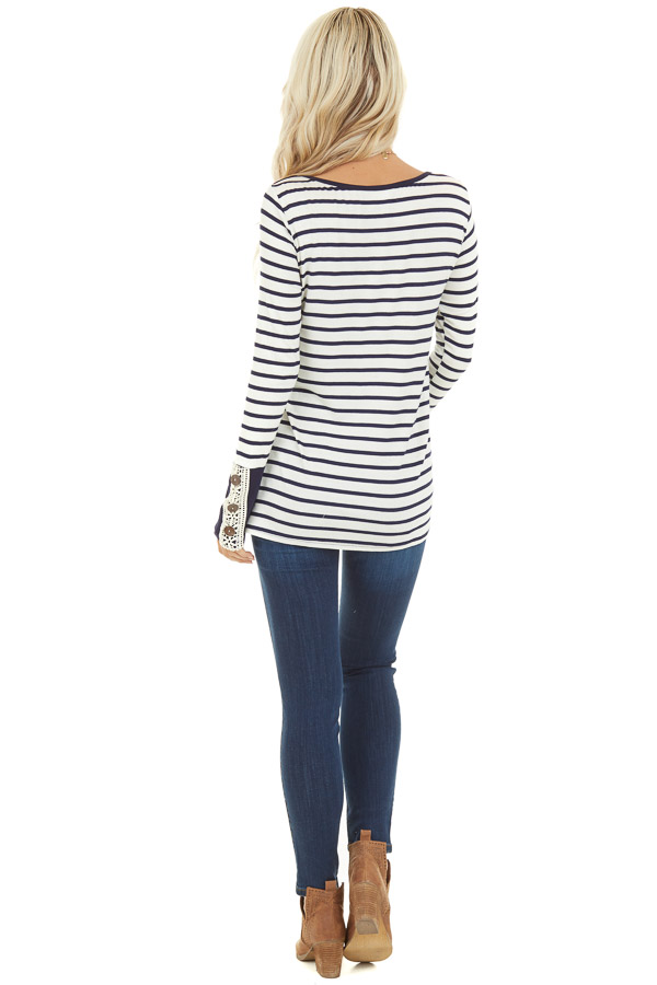 Navy and Ivory Striped Top with Crochet and Button Details back full body