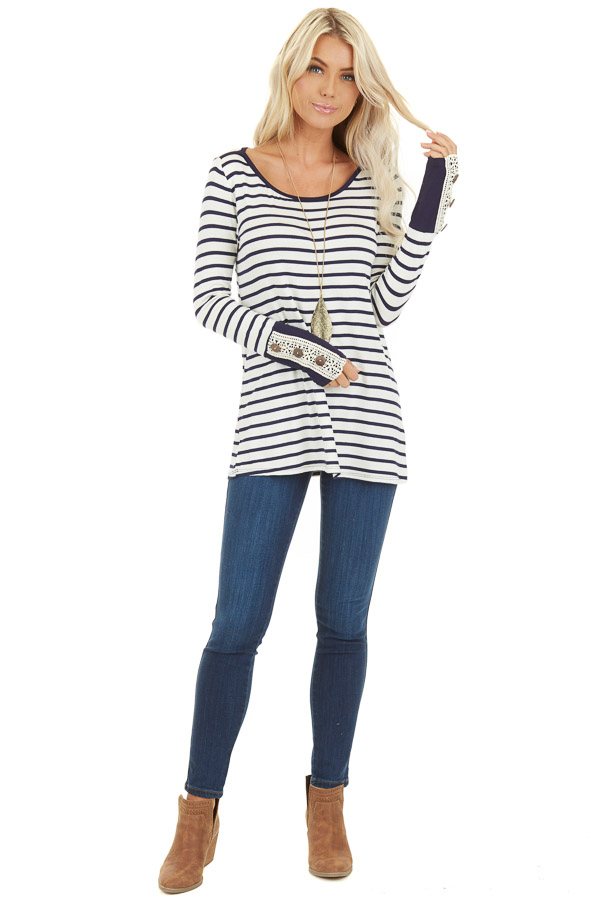 Navy and Ivory Striped Top with Crochet and Button Details front full body