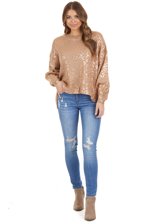 Mocha and Gold Leopard Print Sweater Top with Long Sleeves front full body