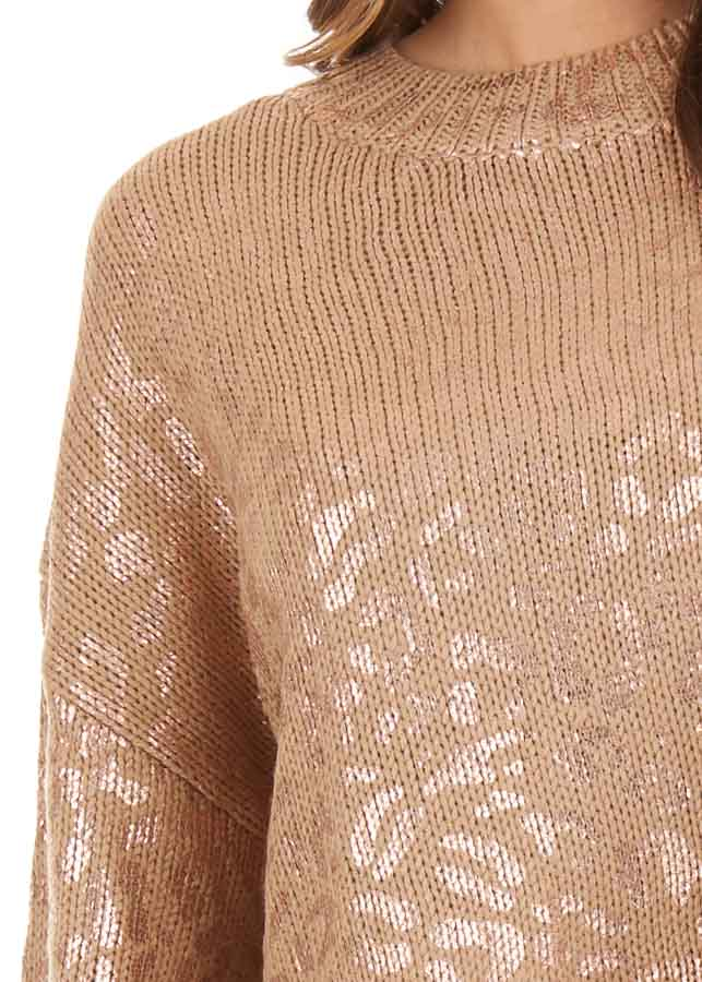 Mocha and Gold Leopard Print Sweater Top with Long Sleeves detail