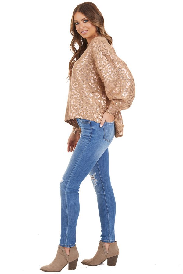 Mocha and Gold Leopard Print Sweater Top with Long Sleeves side full body