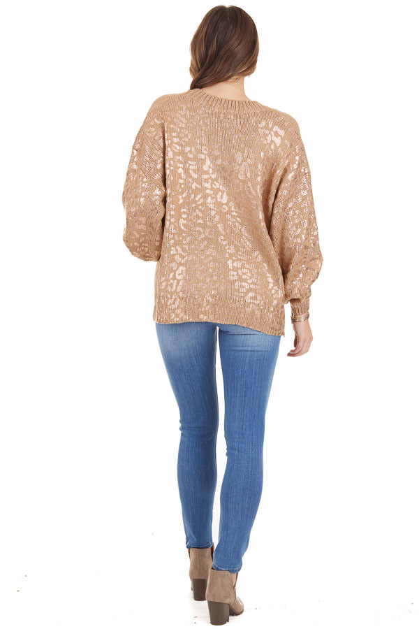 Mocha and Gold Leopard Print Sweater Top with Long Sleeves back full body