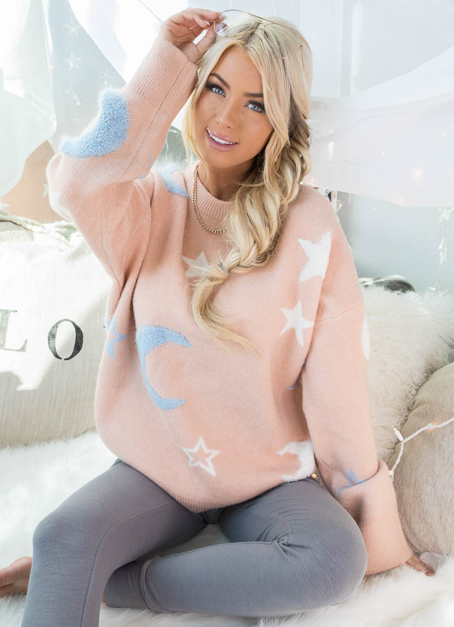 Peach Star and Moon Print Soft Knit Sweater