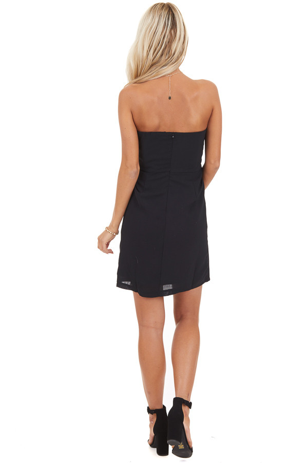 Black Strapless Bodycon Mini Dress with Side Tie Detail back full body