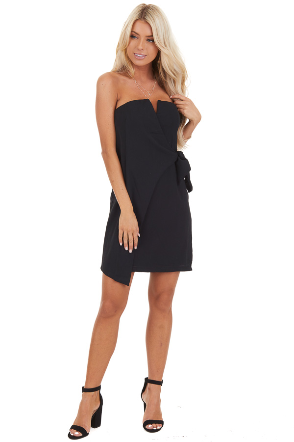 Black Strapless Bodycon Mini Dress with Side Tie Detail front full body