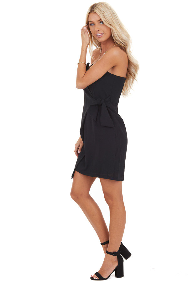 Black Strapless Bodycon Mini Dress with Side Tie Detail side full body
