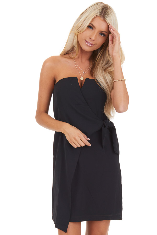 Black Strapless Bodycon Mini Dress with Side Tie Detail front close up