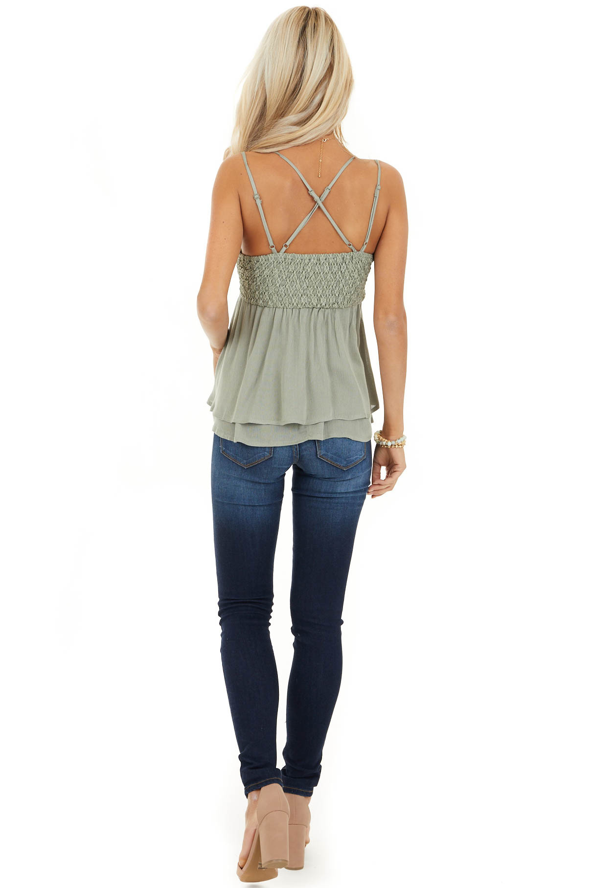 Sage Green Tank with Smocked Back and Lace Details back full body
