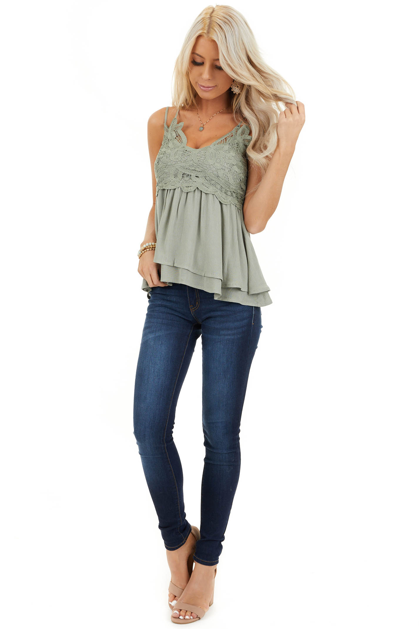 Sage Green Tank with Smocked Back and Lace Details front full body