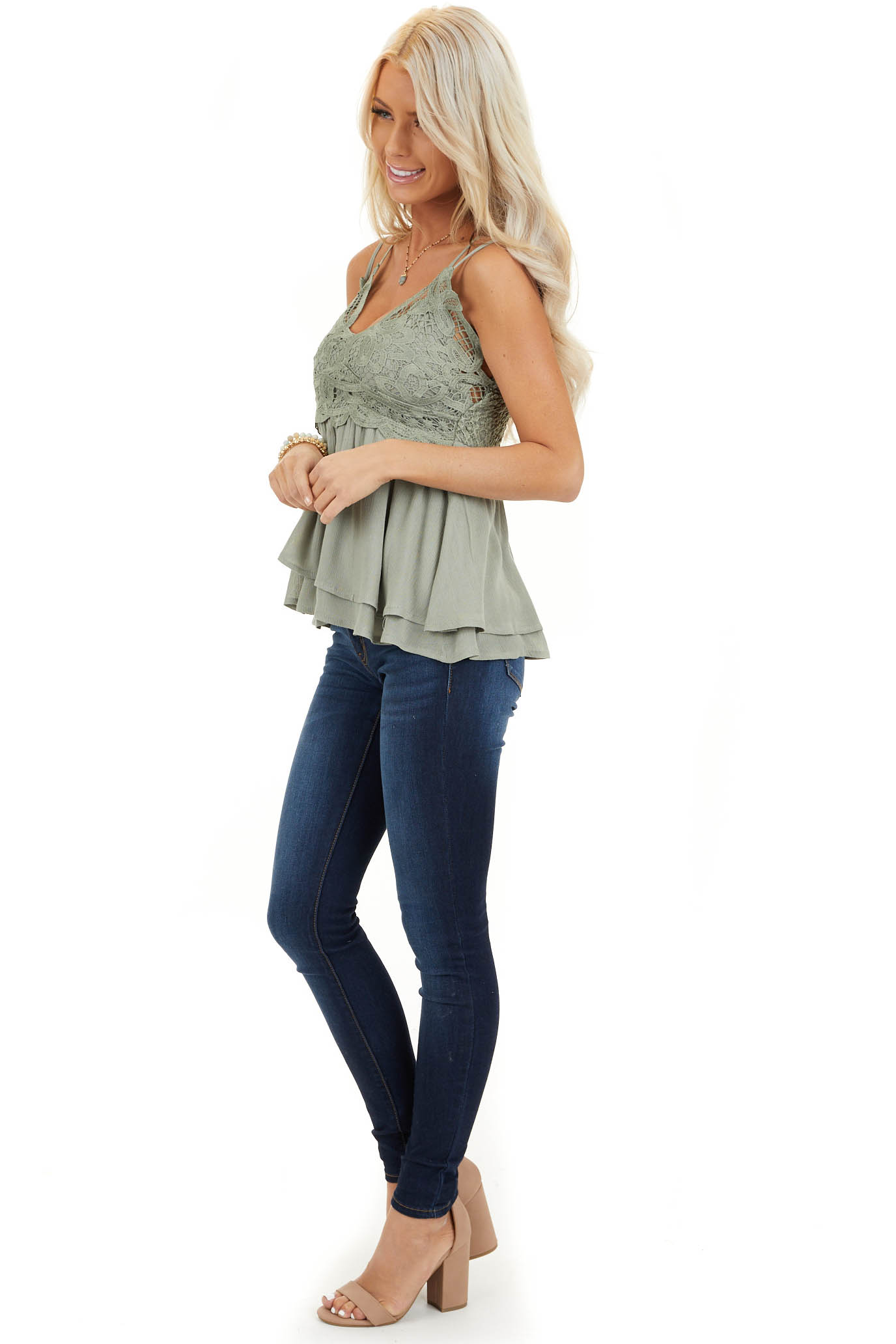 Sage Green Tank with Smocked Back and Lace Details side full body