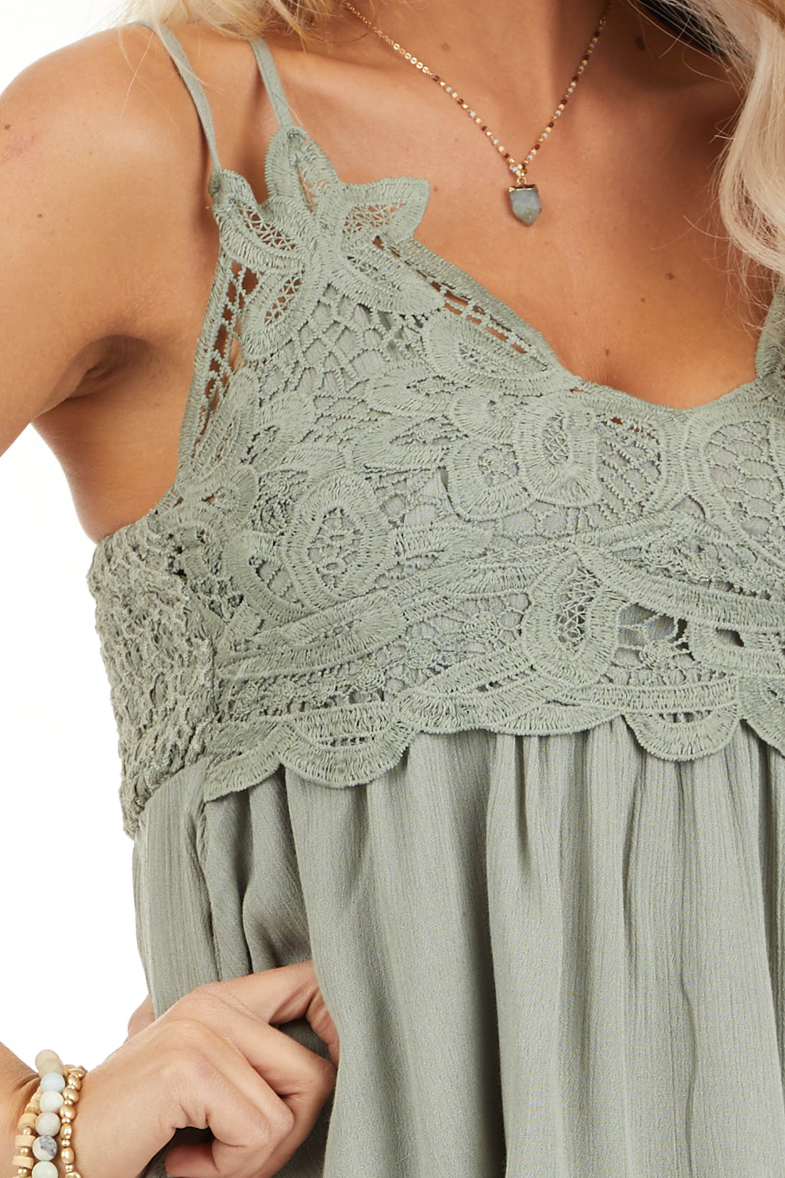 Sage Green Tank with Smocked Back and Lace Details detail