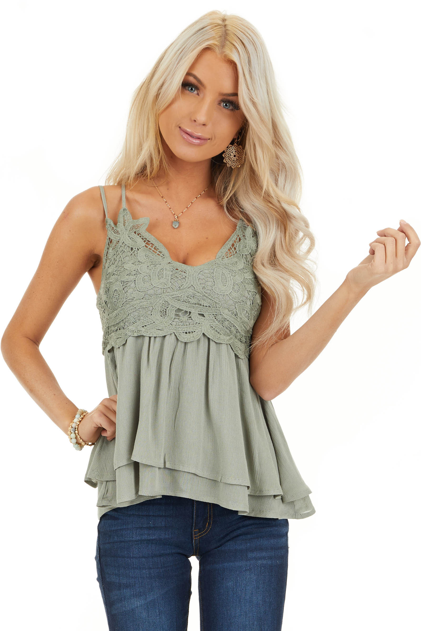 Sage Green Tank with Smocked Back and Lace Details front close up