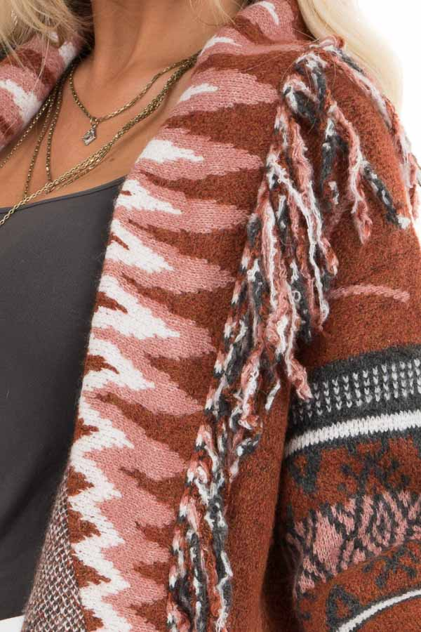 Rust and Charcoal Aztec Print Open Front Cardigan detail