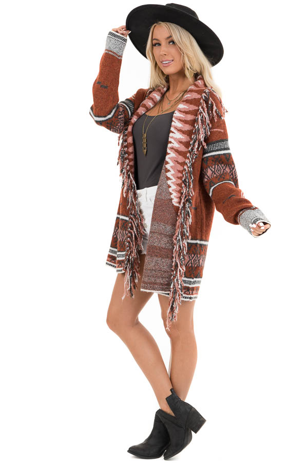 Rust and Charcoal Aztec Print Open Front Cardigan side full body
