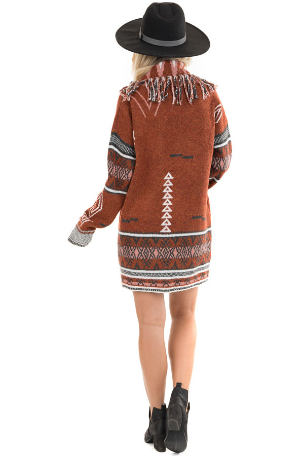 Rust and Charcoal Aztec Print Open Front Cardigan back full body